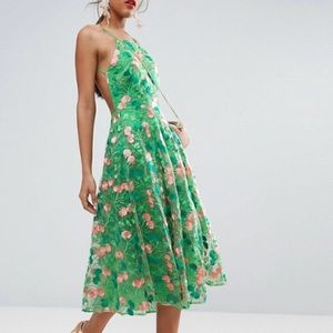 """🌸ASOS backless green floral """"Pinny"""" dress size 4"""